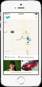 Screenshot of Lyft mobile phone app.