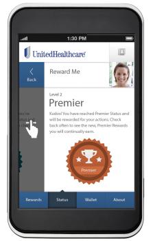 Reward Me tab on UnitedHealthcare's Health4Me mobile app.