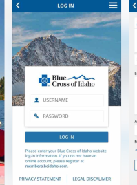 Log-in page of Blue Cross of Idaho mobile app.