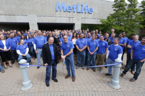 Ribbon-cutting ceremony at the reopening of MetLife's Clarks Summit facility.
