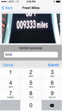 Screenshot of Fresh Miles smartphone app.
