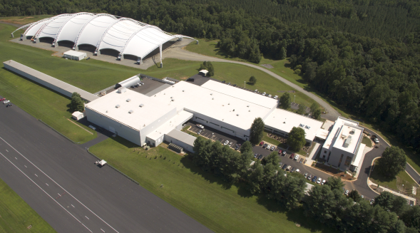 Aerial view of the IIHS's Vehicle Research Center, with recent improvements.