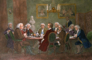 The Literary Club, one of 18th Century London's great salons, meeting at the house of Joshua Reynold's (painter of the portrait of Edmund Burke above). Burke can be seen in the center of the picture, facing Samuel Johnson, the great poet, critic and lexicographer. Reynolds is portrayed standing in the background to the right.