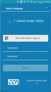 Argo Risk Tech log-in screen. Source: Argo.